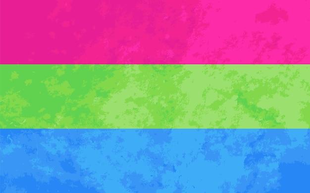 Sinal polissexual, bandeira do orgulho polissexual com textura