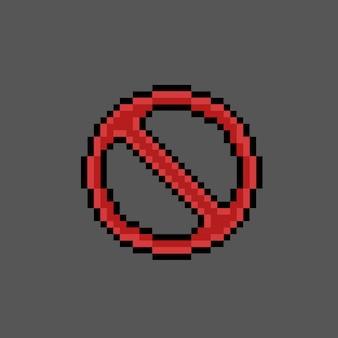 Sinal proibido no estilo pixel art