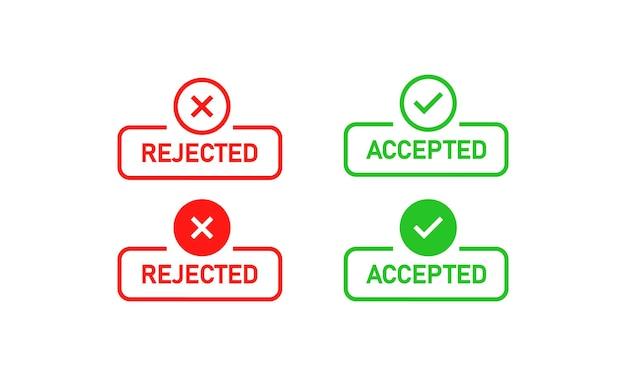 Sinal rejeitado e aceito. marca de cruz e marca de verificação. vetor eps 10. isolado no fundo branco.