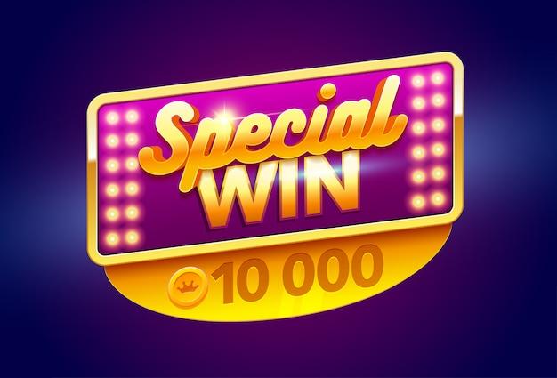 Sinal retrô com lâmpada banner de vitória especial, com poker, baralho, caça-níqueis e roleta.