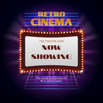 Sinal retro de incandescência do cinema 3d retro de hollywood. ilustração do vetor do quadro de avisos da exposição da luz do filme. evento de outdoor de cinema retrô