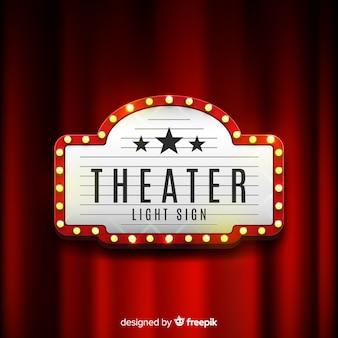 Sinal retrô de teatro de luz