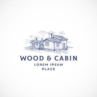 Sinal, símbolo ou logotipo abstrato da cabine na floresta