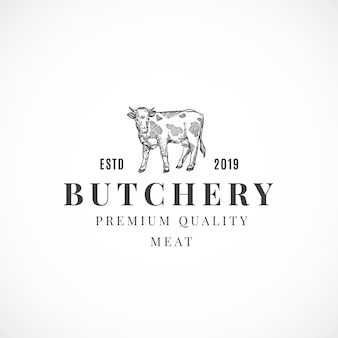 Sinal, símbolo ou logotipo abstrato de carne de qualidade superior para açougueiro