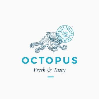 Sinal, símbolo ou logotipo abstrato de frutos do mar frescos e saborosos.