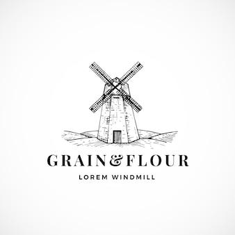 Sinal, símbolo ou logotipo abstrato de grãos e farinha