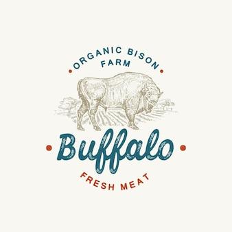 Sinal, símbolo ou logotipo de vetor abstrato de gado orgânico de búfalo