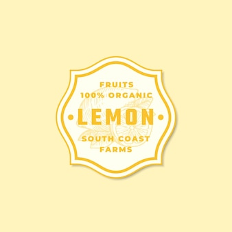 Sinal, símbolo ou logotipo de vetor abstrato de limão orgânico