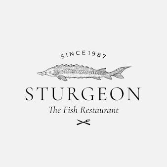 Sinal, símbolo ou logotipo de vetor abstrato de restaurante de peixe