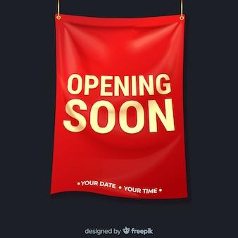 Sinal têxtil realista abrindo em breve