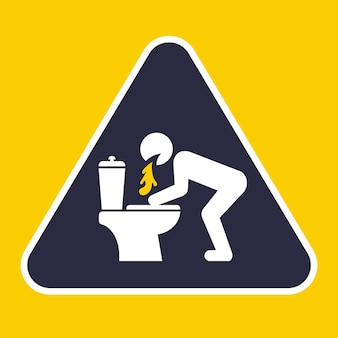 Sinal triangular para vomitar no banheiro. ilustração vetorial plana.