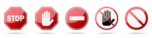 Sinal vermelho de parada isolado. sinais de aviso de vetor.