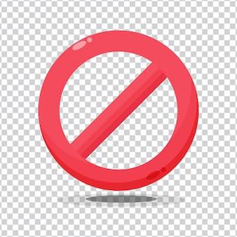 Sinal vermelho proibido sem ícone de aviso no fundo em branco