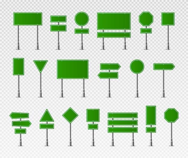 Sinalização de aviso de parada, perigo, cuidado, velocidade, rodovia, placa, conjunto, verde, rua, sinalização