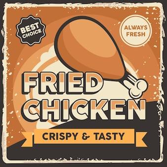 Sinalização de frango frito retrô rústico clássico