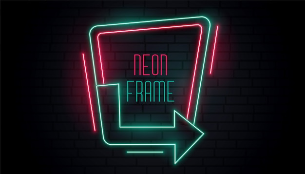 Sinalização de seta de néon brilhante com espaço de texto