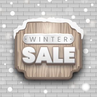 Sinalização de venda de inverno em madeira