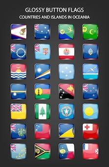 Sinalizadores de botão brilhante - países e ilhas na oceania.