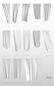 Sinalizadores de modelo de ondulação vertical limpo branco, isolados no fundo. flag template.