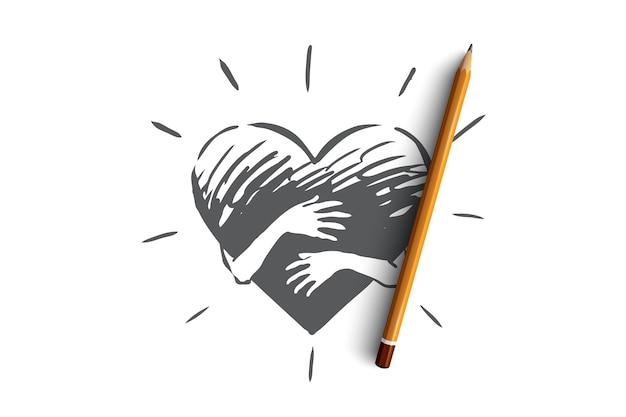 Sinceridade, amor, cuidado, mão, conceito de coração. mão desenhada mãos abraçam esboço de conceito de coração.