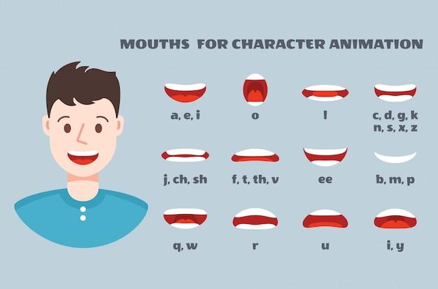 Sincronização de boca. rosto masculino com lábios falando conjunto de expressão. articulação e sorriso, coleção de animação de bocas falantes
