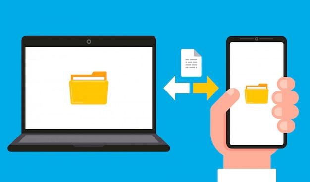 Sincronização de dados e documentos em um computador e smartphone.
