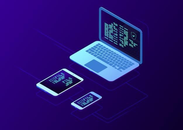 Sincronização de dispositivos inteligentes, tecnologia de armazenamento em nuvem isométrica, transferência de arquivos, usuário de autorização de dois estágios, ícone de tablet laptop smartphone, fundo gradiente escuro de néon