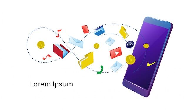 Sincronização de smartphones diferentes aplicativos móveis on-line