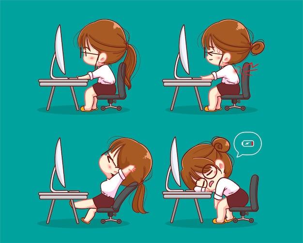 Síndrome de burnout profissional. exausta gerente feminina no trabalho, sentado à mesa.
