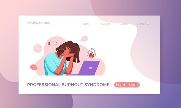 Síndrome de burnout profissional exausta mulher cansada sentada em seu local de trabalho no escritório segurando seu h