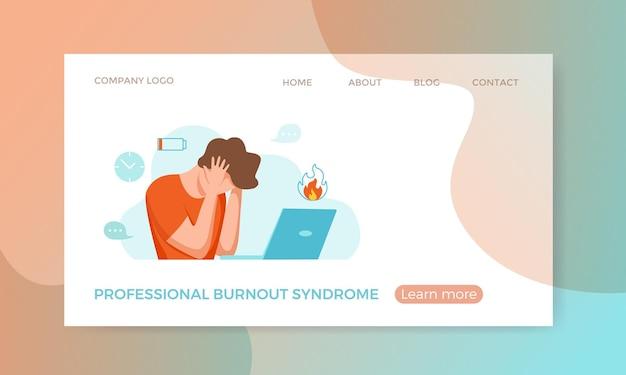 Síndrome de burnout profissional exausto homem cansado sentado em seu local de trabalho no escritório segurando