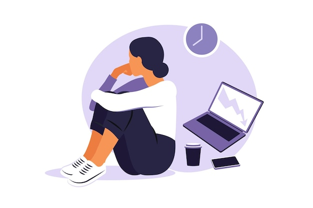 Síndrome de burnout profissional. trabalhador de escritório feminino cansado de ilustração sentado à mesa. trabalhador frustrado, problemas de saúde mental. ilustração vetorial em estilo simples.