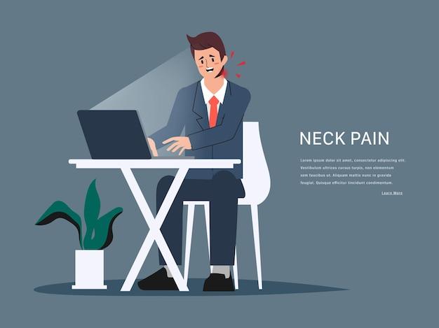 Síndrome do consultório com sintomas de dor no pescoço do empresário