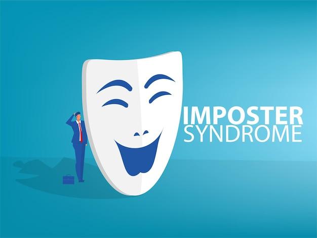 Síndrome do impostor. homem em pé atrás da máscara. ansiedade e falta de autoconfiança no trabalho; a pessoa que finge é outra pessoa