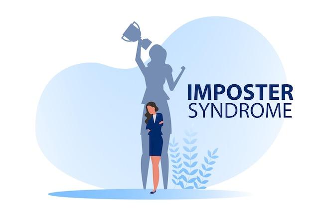 Síndrome do impostor. mulher sombra que representa seu perfil atual recebe prêmio com ansiedade e falta de autoconfiança no trabalho; a pessoa finge é outro conceito