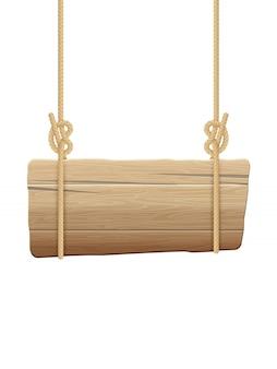 Singboard de madeira pendurado em cordas.