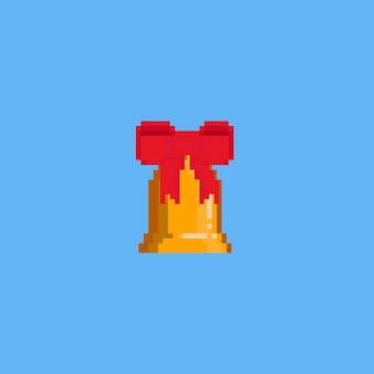 Sino de natal de pixel com fita vermelha