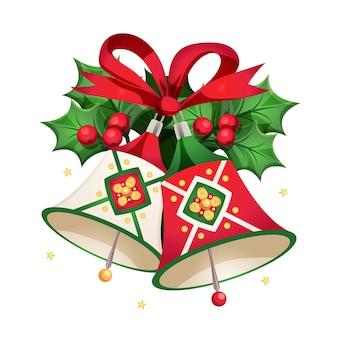 Sinos de natal com outros elementos decorativos, um cartão de feliz ano novo e feliz natal.