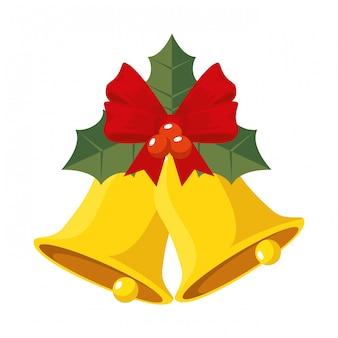 Sinos de natal e folhas ícone decorativo