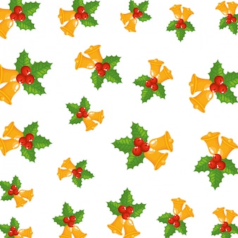 Sinos de natal e folhas padrão decorativo