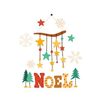 Sinos de vento de natal com inscrição colorida de noel