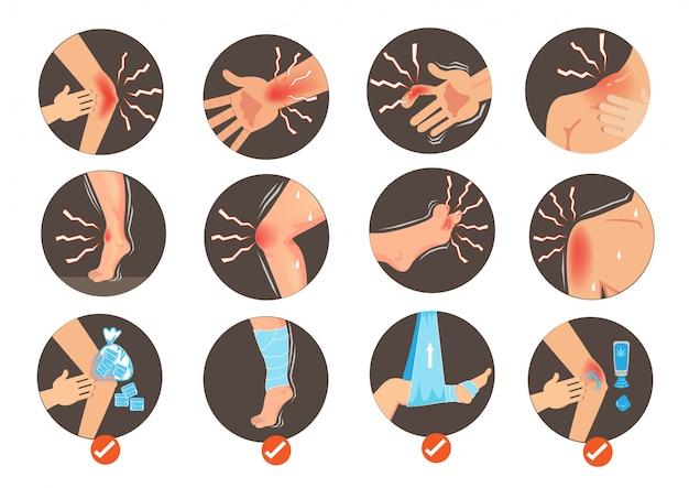 Sintoma de entorse e infográfico de coleção de etapas de primeiros socorros