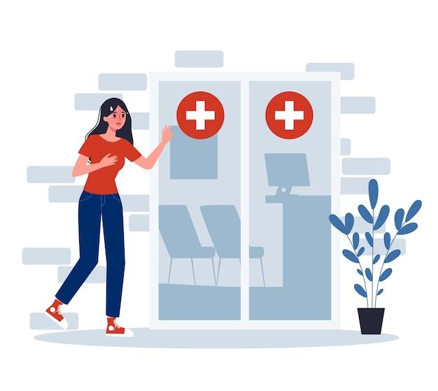 Sintomas. a mulher infectada vai ao hospital para tratamento médico.
