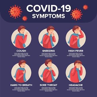 Sintomas da doença de coronavírus com homem doente detalhado