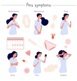 Sintomas da tpm. estresse feminino, dor abdominal, acne e mal-humorado.