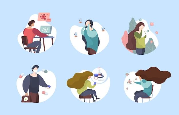 Sintomas de alergia planos. a medicina de reação alérgica de pessoas com doença ajuda a ilustrações vetoriais berrantes de símbolos de drogas respiratórias. reação alérgica, doença alérgica, doença alérgica