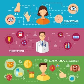 Sintomas de alergia tratamento médico banners horizontais