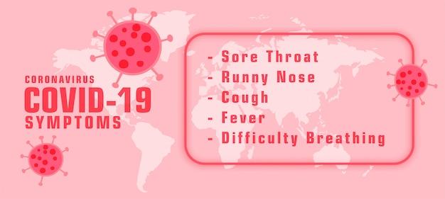 Sintomas de covid-19 de coronavírus com banner de propagação de vírus