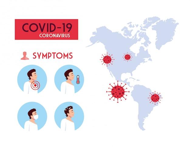 Sintomas de homens e mapa-múndi com design de vetor de vírus covid 19