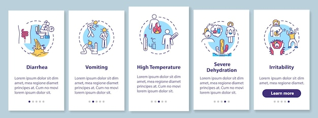 Sintomas de rotavírus na tela da página do aplicativo móvel com conceitos. sinais de infecção viral e intoxicação alimentar passo a passo com instruções gráficas de 5 etapas. modelo de vetor de interface do usuário com ilustrações coloridas rgb